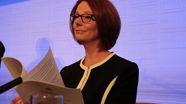 Gillard's glasses (left) and Gillard (right). (Photo: Ray Strange)